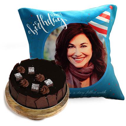 Birthday Cushion And Choco Sponge Cake Half Kg