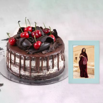 Black Forest Cake And Classy Light Blue Photo Frame