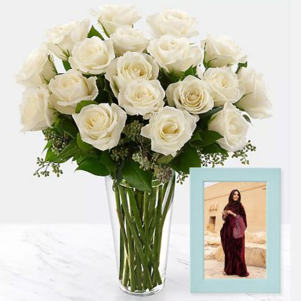 Classy Photo Frame And White Roses