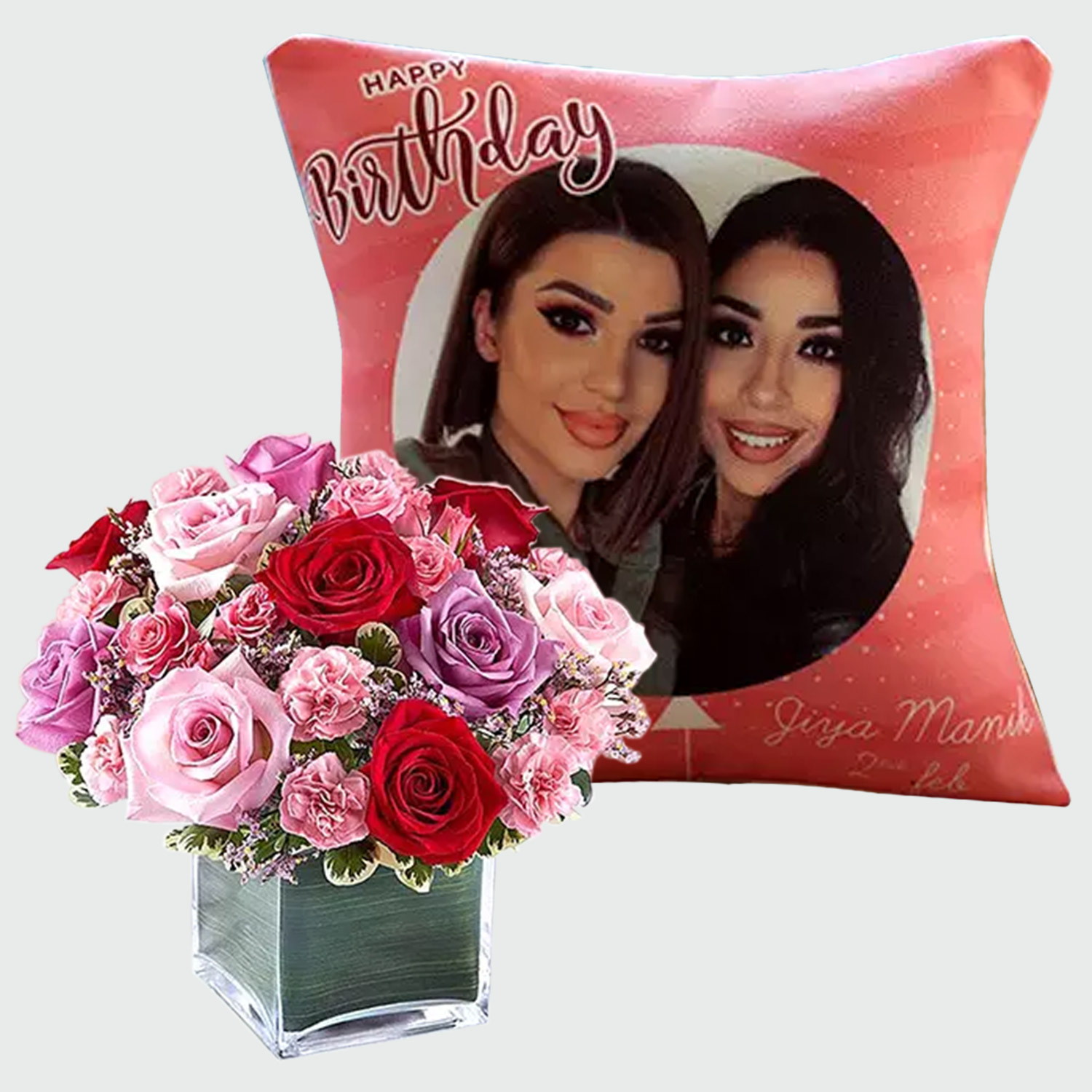 Personalised Birthday Cushion And Roses Arrangement