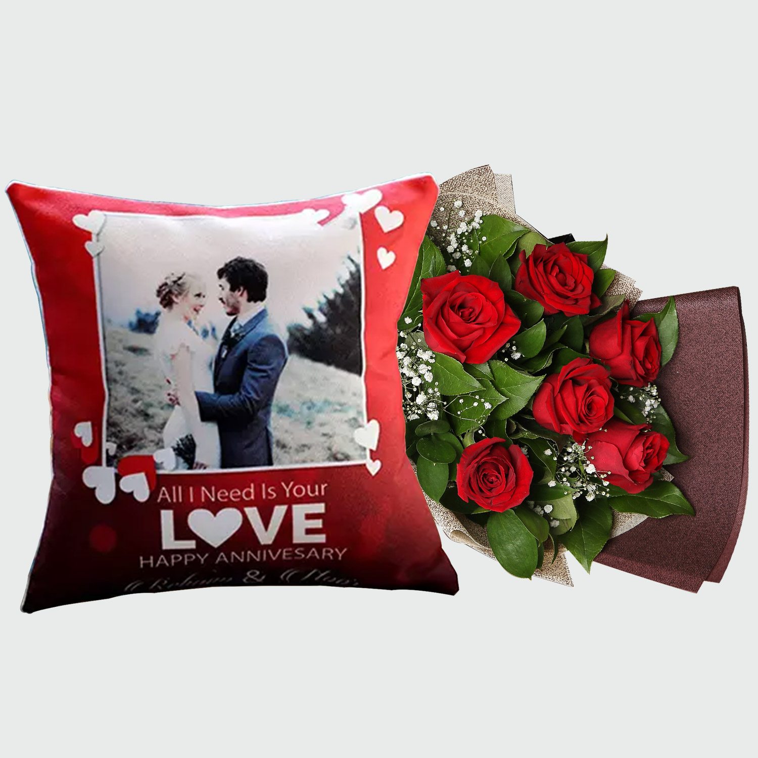 Rose Bouquet And Personalised Cushion Cover