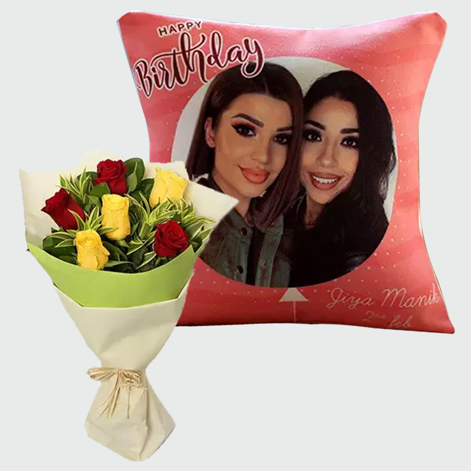 Roses Bouquet And Personalised Birthday Cushion