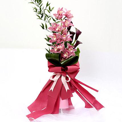 Grandeur Calla Lilies and Cymbidium Bouquet SG