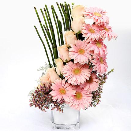 Heartfelt Mixed Roses and Gerbera Arrangement SG