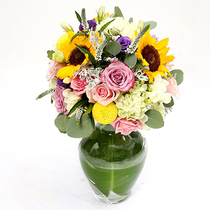 Vivid Roses and Sunflower Mixed Flower Vase SG
