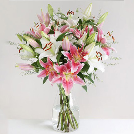 Mixed Oriental Lilies Vase Arrangement